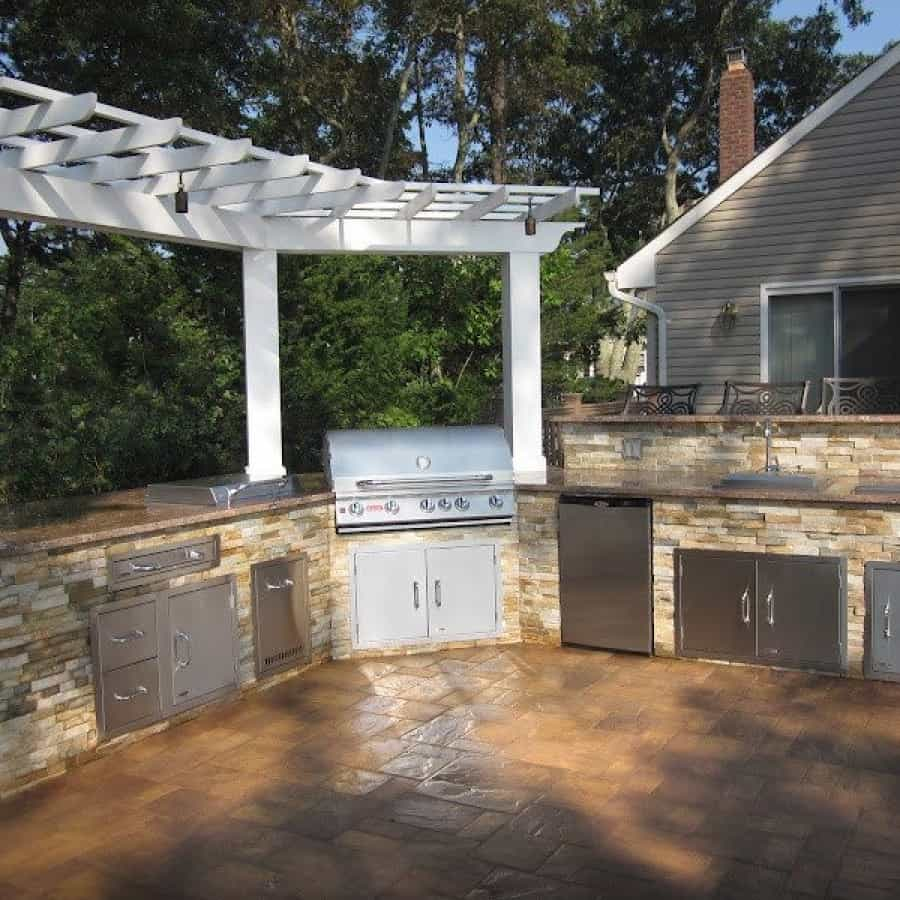 8' x 3' Azek Pergola over Outdoor Kitchen - Flanders, Long Island NY