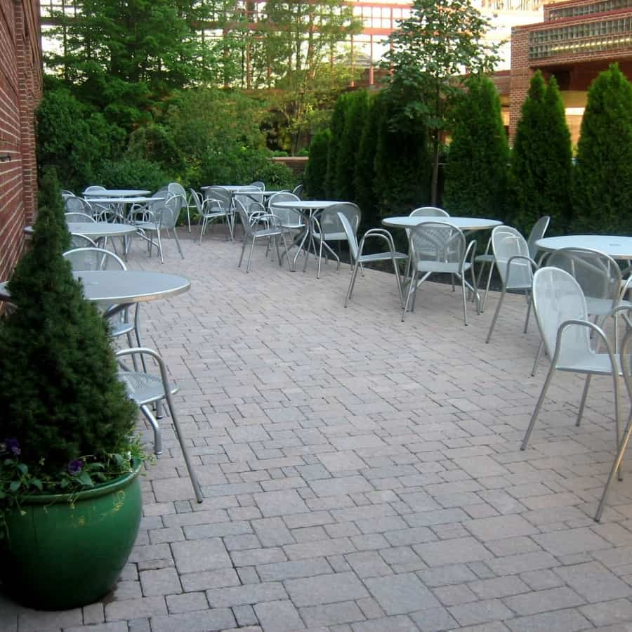 Paver Patio - Techo Bloc Paver Patio - Hera - Champlain Grey - Random Pattern - Crown Plaza Hotel, Long Island NY