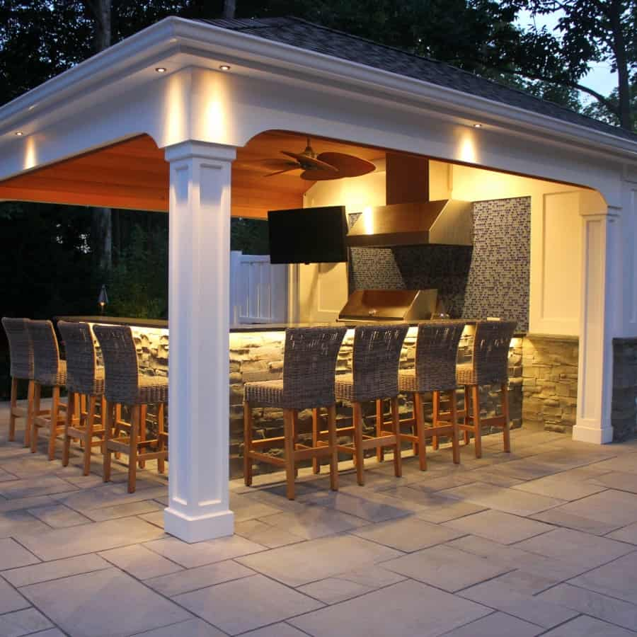 LED Lighting on Custom Cabana - Manhasset, Long Island NY