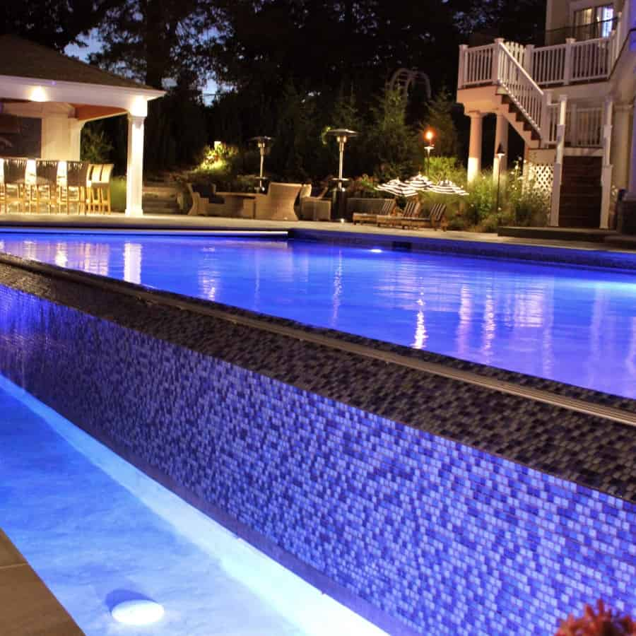 LED Lighting on Gunite Pool - Manhasset, Long Island NY