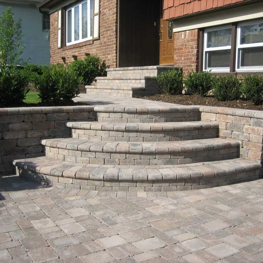 Paver Walkway - Unilock Tumbled Brussels Block Walkway and Steps - Terra Cota - Random Pattern - Plainview, Long Island NY
