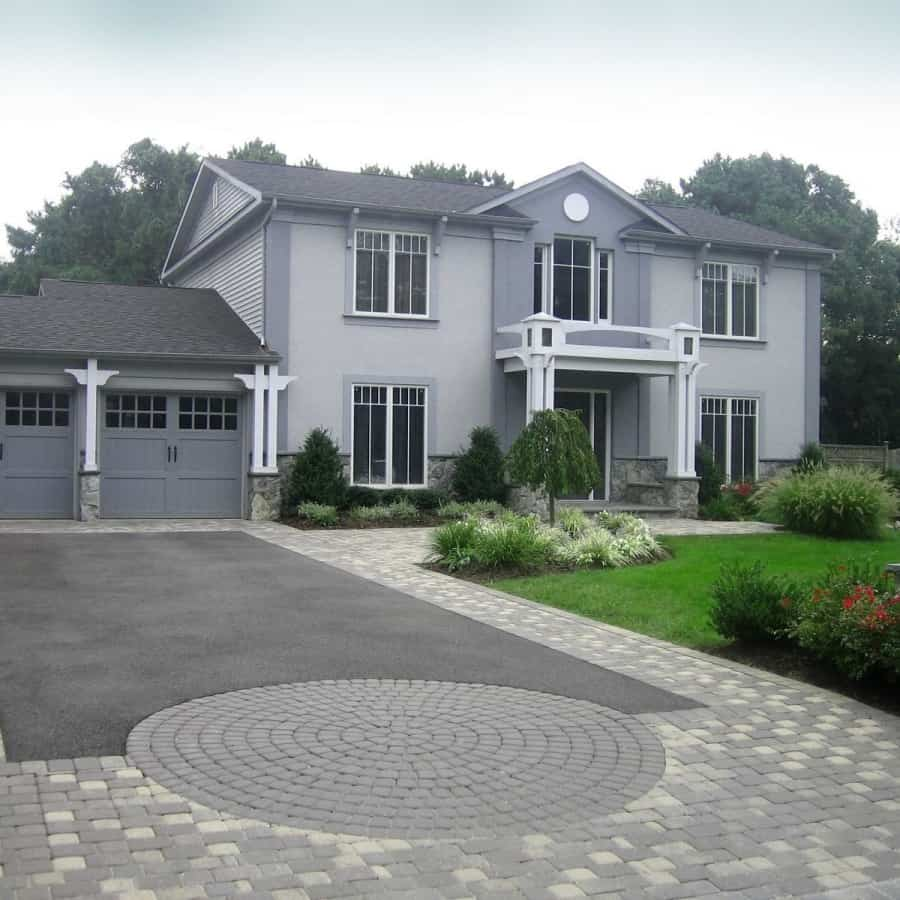 Asphalt Driveway - Nicolock Roma I & Roma II Paver Walkway and Apron - Color - Granite City - Light Pier with Corinthian Granite Veneer and Bluestone Rockface cap - Dix Hills, Long Island NY