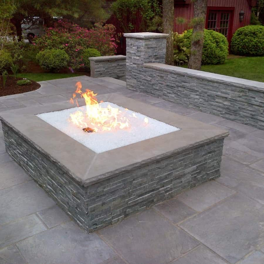 Over sized gas Fire Pit with Fire Crystals - East Hampton, Long Island NY