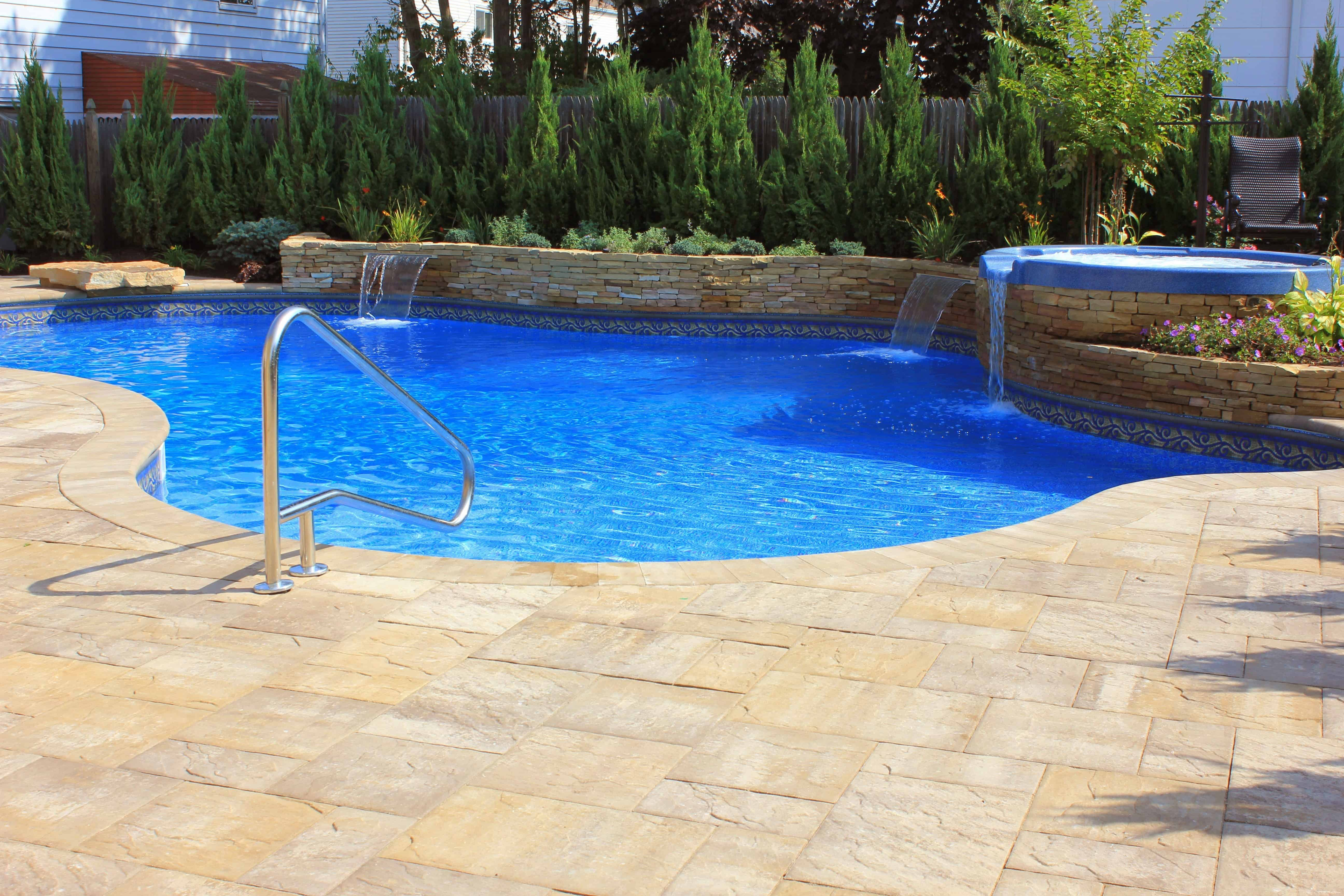 Free Form Pool with Spill over Spa and Sheer Descent Water Features - Merrick, Long Island NY