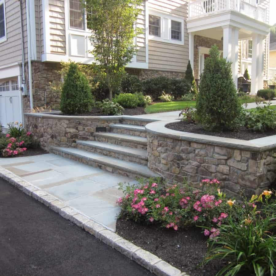 Belgium Block Driveway - Bluestone Entrance with Cultured Stone walls and Bluestone Treads - Glen Cove, Long Island NY