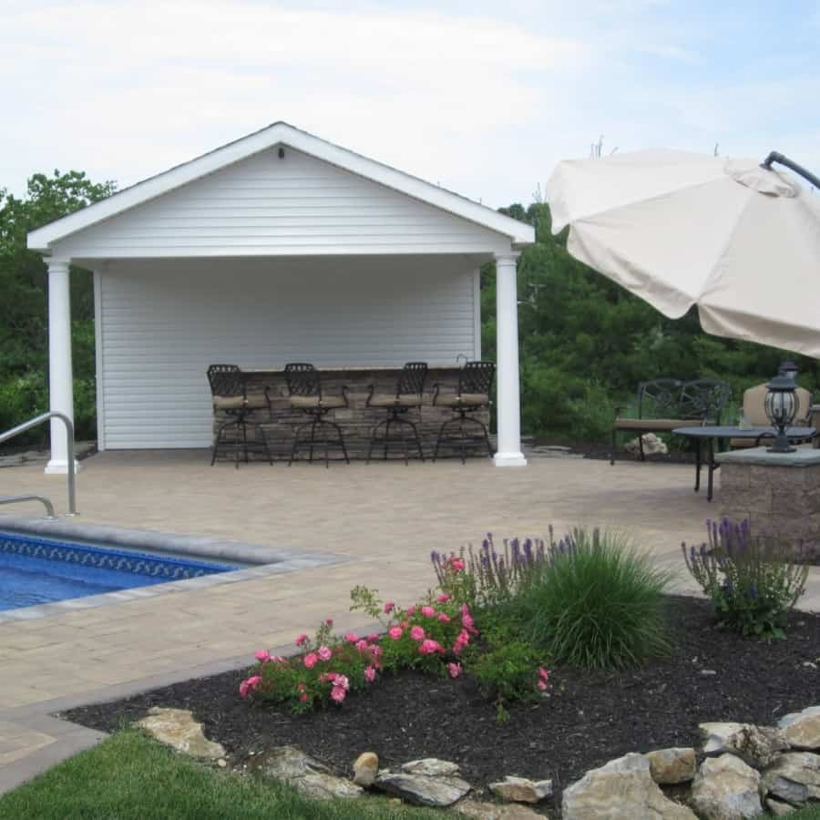 6' x 18' Pool House/Cabana with outdoor bar, bathroom, and storage room - Dix Hills, Long Island NY