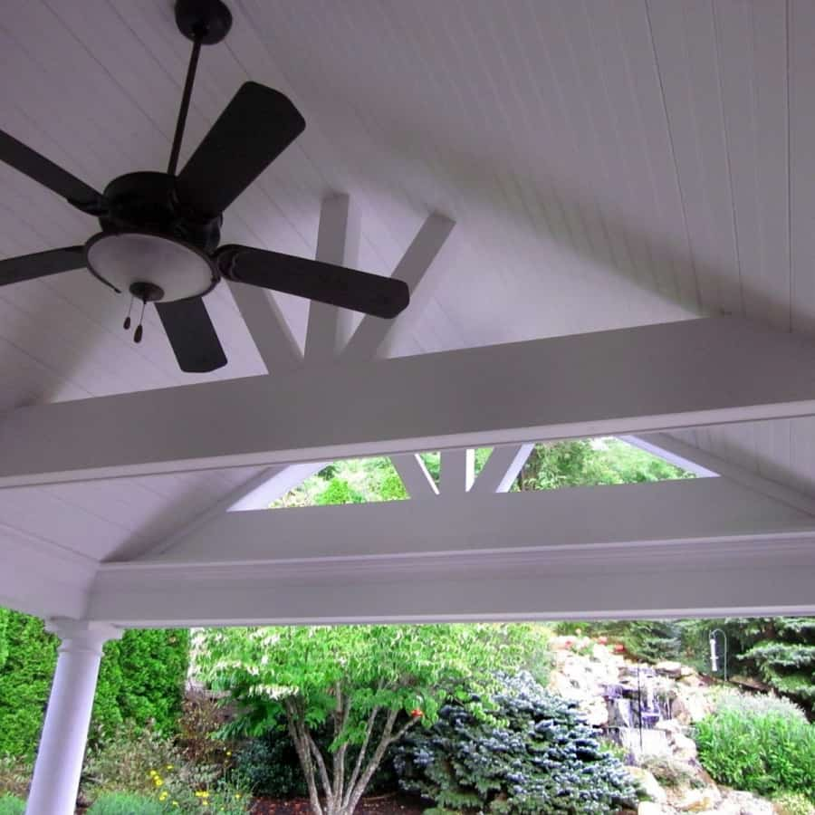 17' x 23' Outdoor Room with pitched roof, ceiling fan, and columns - Roslyn, Long Island NY