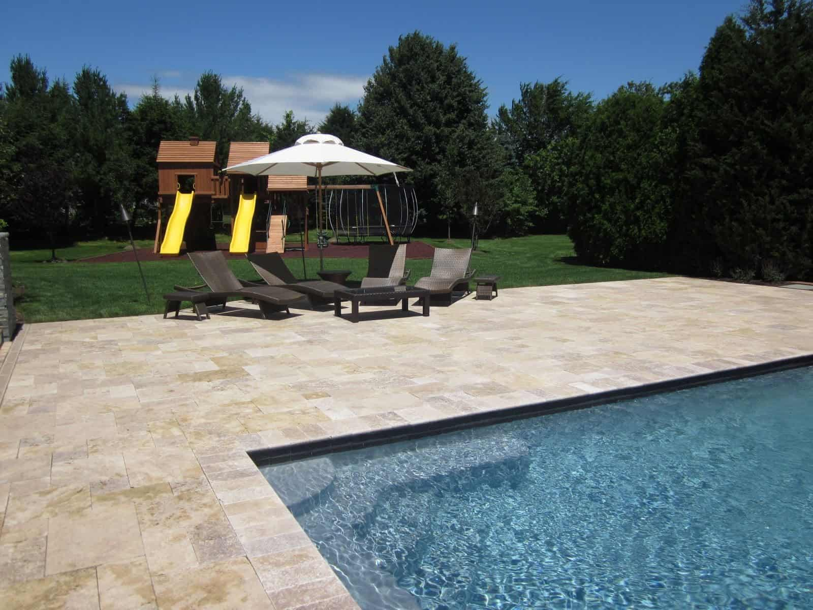 "Natural Stone Patio - Travertine ""Noche"" Pool Patio - Random Pattern with Fullnose Coping - Southampton, Long Island NY"