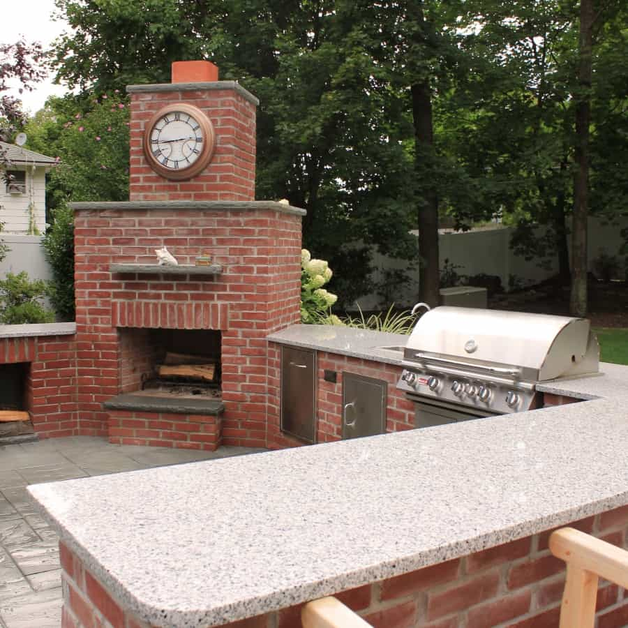 Natural Brick Outdoor Kitchen with Granite Countertop and Fireplace  - Huntington, Long Island NY