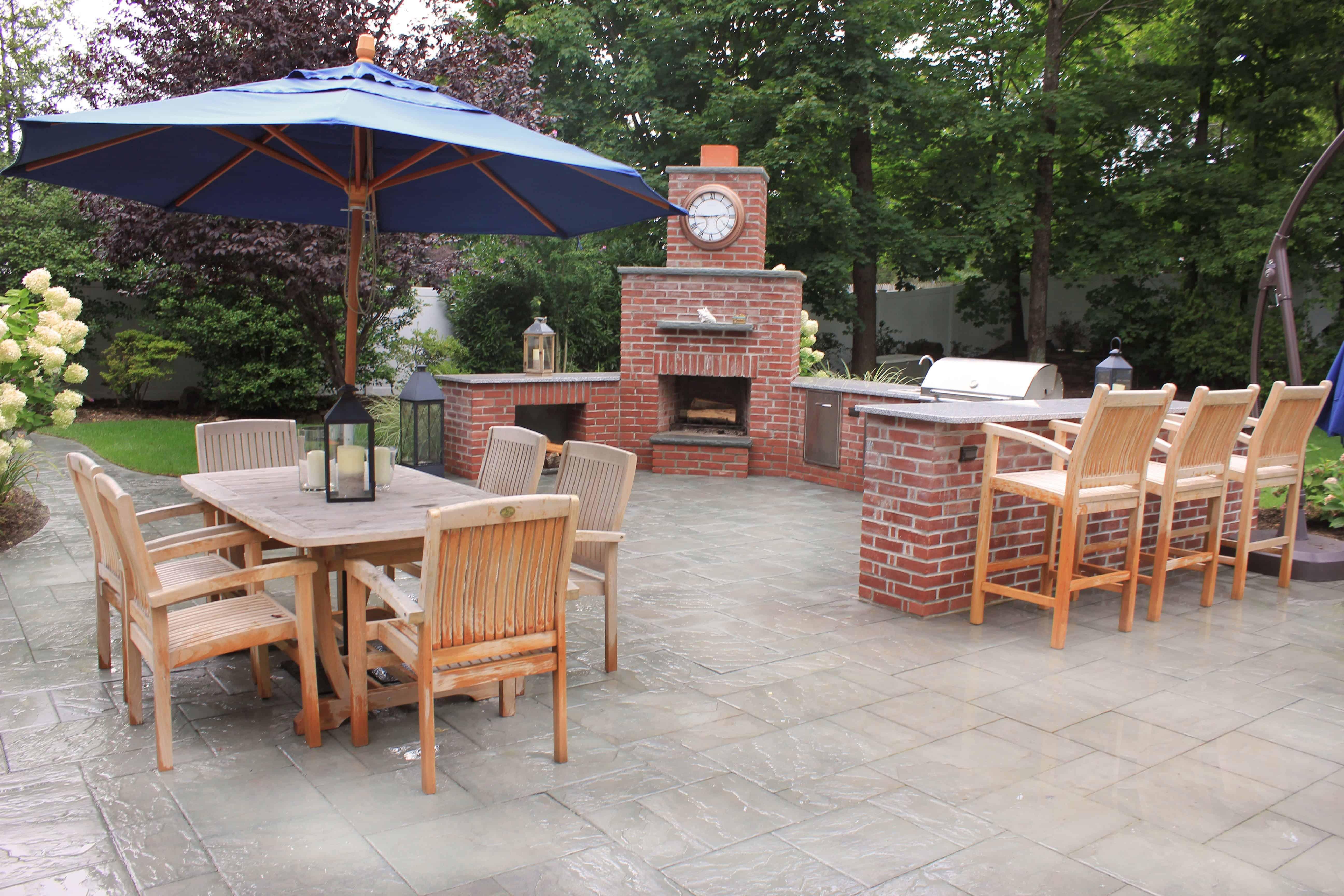 Natural Brick Fire Place with Rock Faced Bluestone Caps - Huntington, Long Island NY