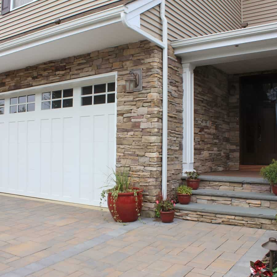 Façade and risers veneered with - Cultured Stone Southern Ledgestone - Bucks County - Melville, Long Island NY