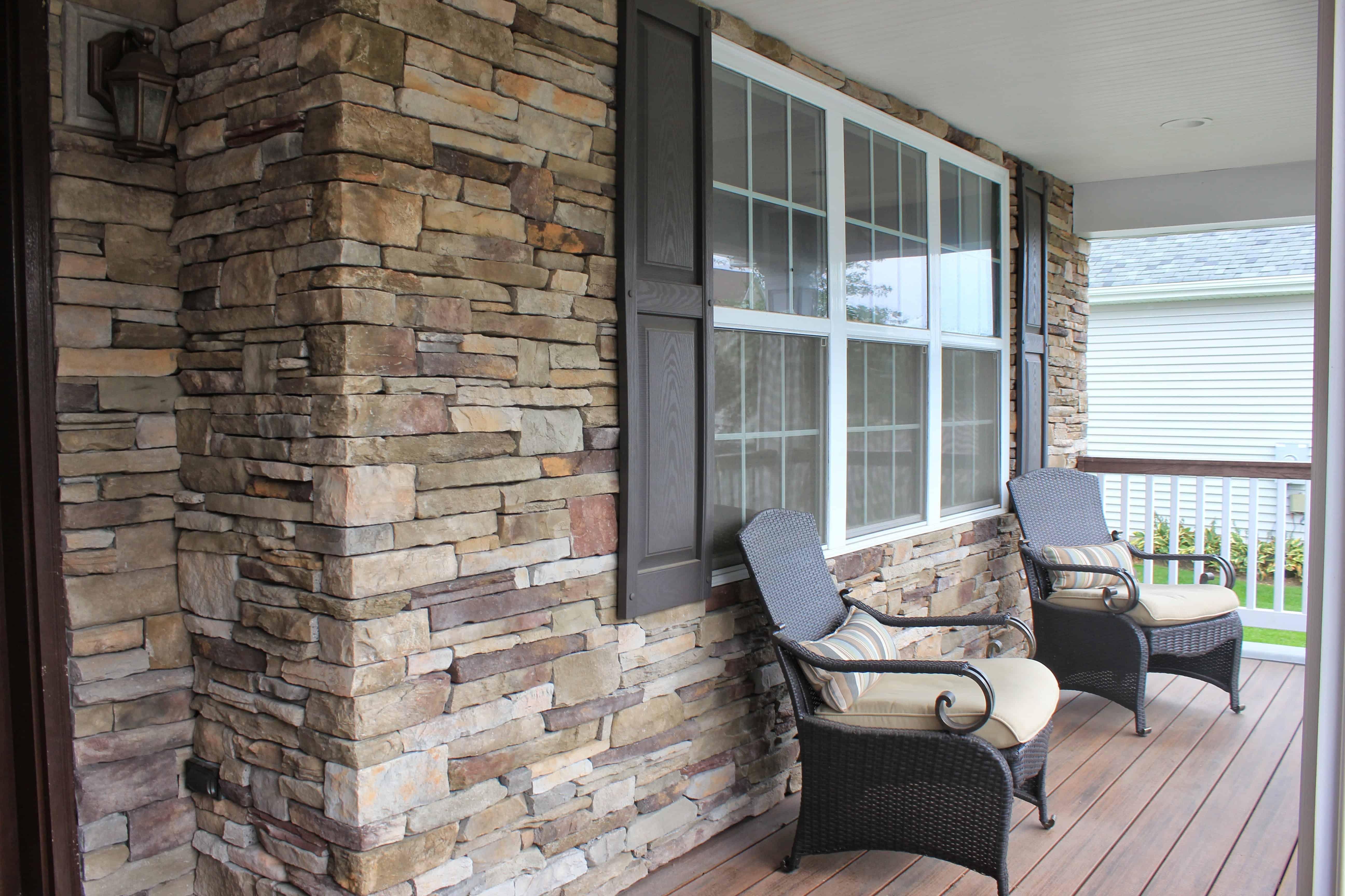 Façade veneered with - Cultured Stone Southern Ledgestone - Bucks County - Melville, Long Island NY