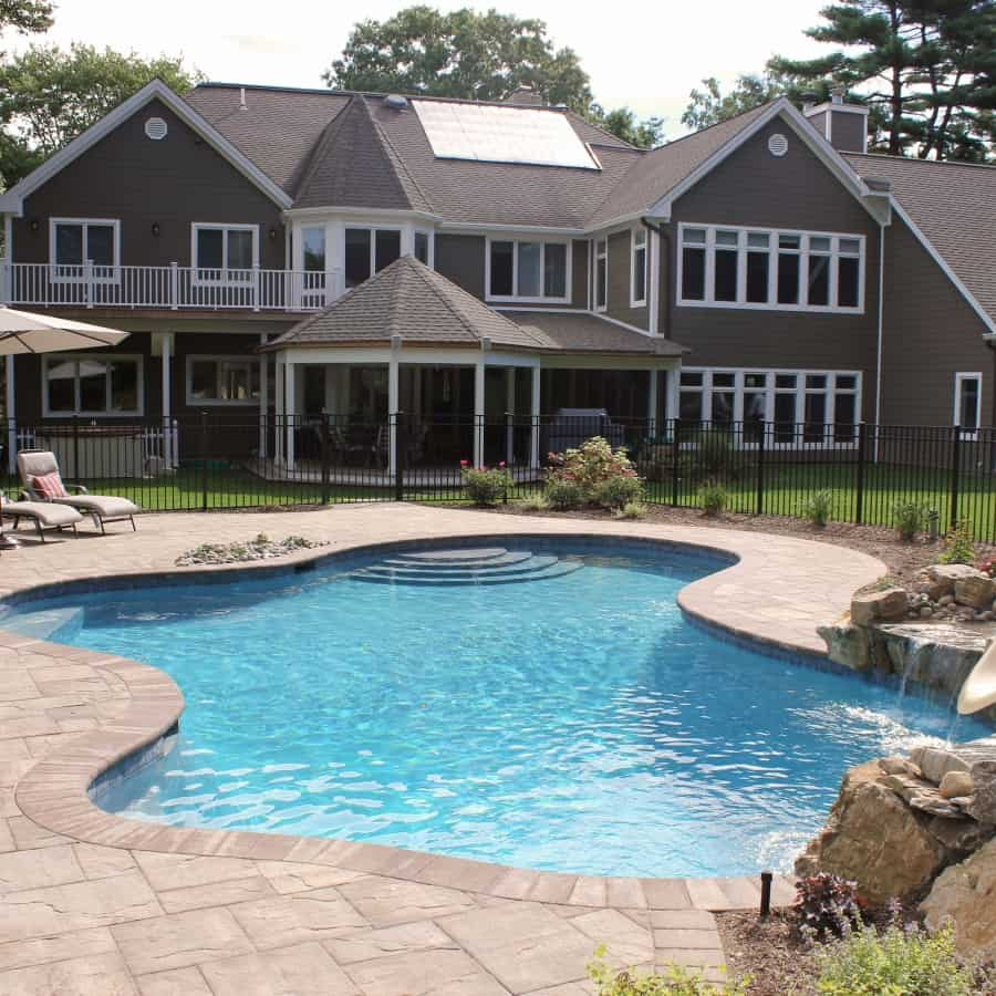 24' x 35' Free Form Gunite Pool with custom bench, slate tile, and Big Ride Slide - Woodbury, Long Island NY
