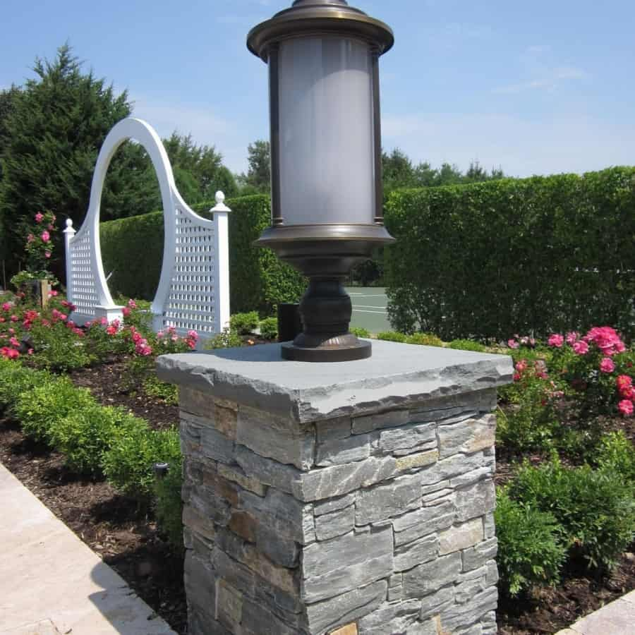 East West Stone Pillar - Bayside Waters - Rock Faced Bluestone Cap - Southampton, Long Island NY