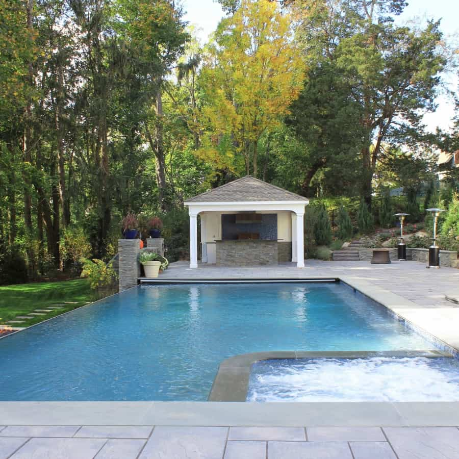 24 x 44 Gunite Pool with 44 foot Infinity Edge, 8 x 8 foot Custom Spa, and Automatic Cover - Manhasset, Long Island NY
