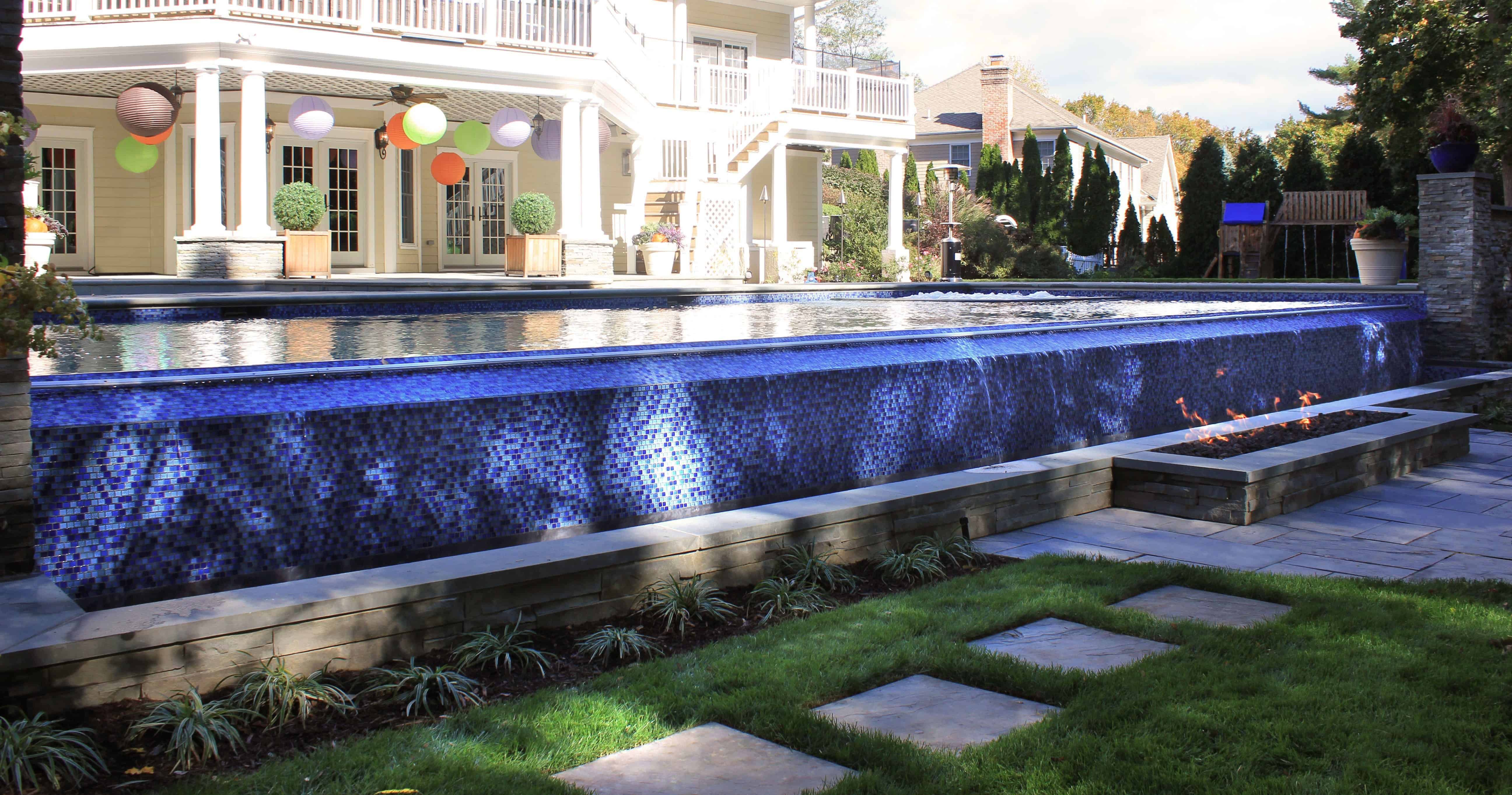 Close8 foot custom Fire Trough with Lava Rock - Manhasset, Long Island NY
