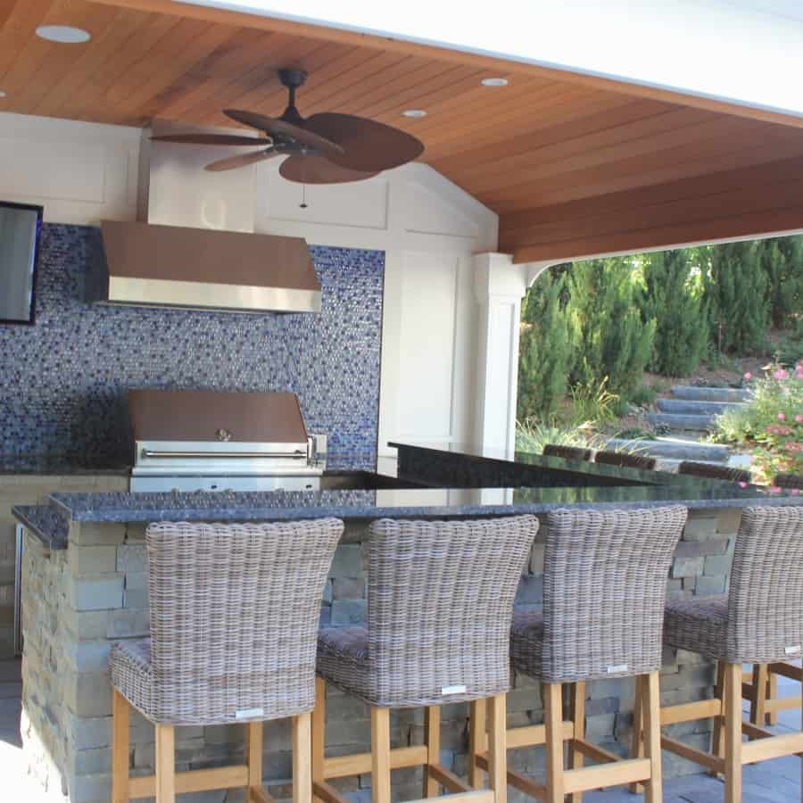 Outdoor Kitchen & Bar with TV, Stainless Steel fixtures and glass mosaic backsplash - Manhasset, Long Island NY