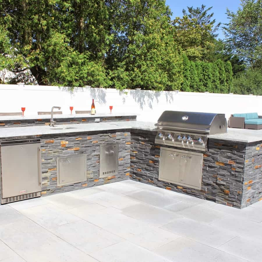 Bi-Level Outdoor Kitchen and Bar veneered with Real Stone- Syosset, Long Island NY