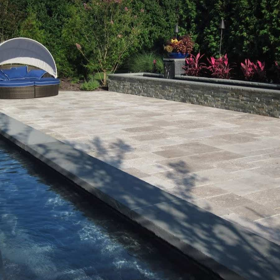 "Natural Stone Patio - Travertine ""Noche"" Courtyard - French Pattern with Inlays - Southampton, Long Island NY"