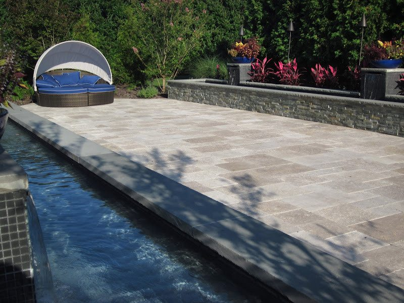 Gunite Reflecting Pools with Sheer Descent Pillars veneered in East West Stone - Bayside Waters and Glass Tile - Southampto​n, Long Island NY