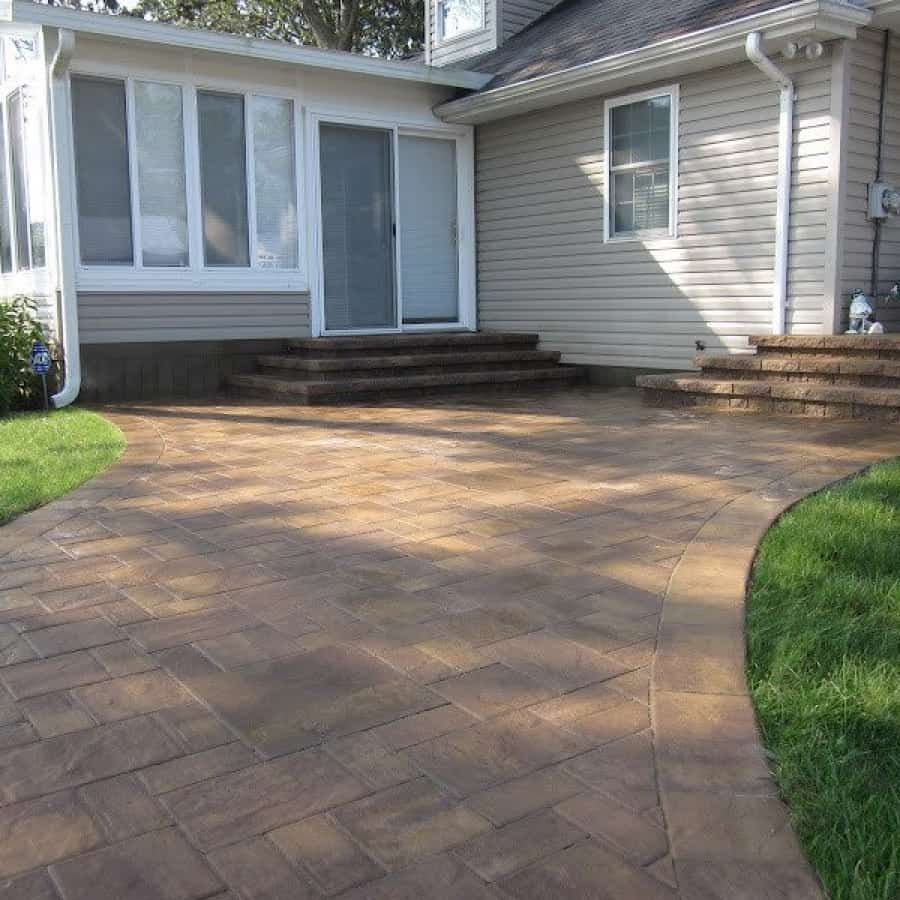 Paver Walkway - Cambridge Ledgestone​-Sahara Chestnut Paver Walkway- Random Pattern - Matryx Wall System Paver Steps - Flanders, Long Island NY