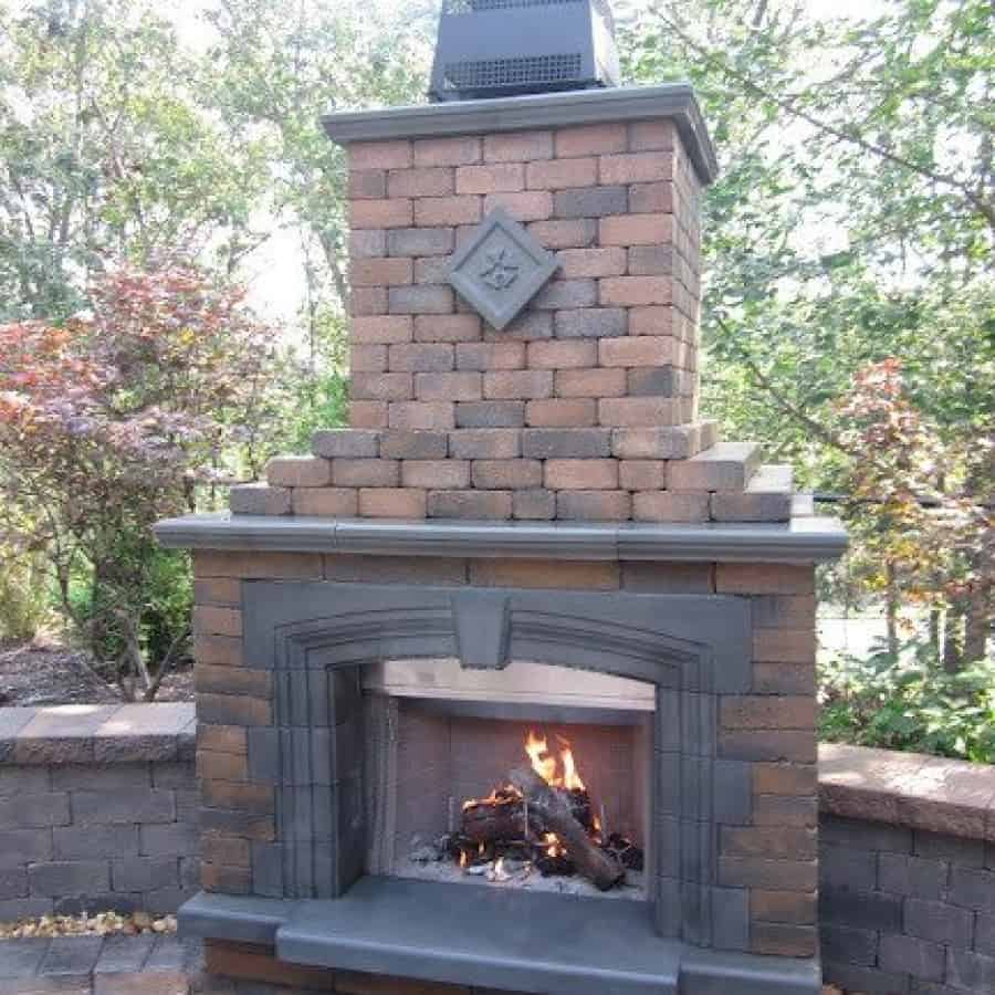 Outdoor Fireplace - Cambridge Olde English Wall Fireplace With Cast Stone Surround Deluxe - Toffee/Onyx - Smithtown, Long Island NY