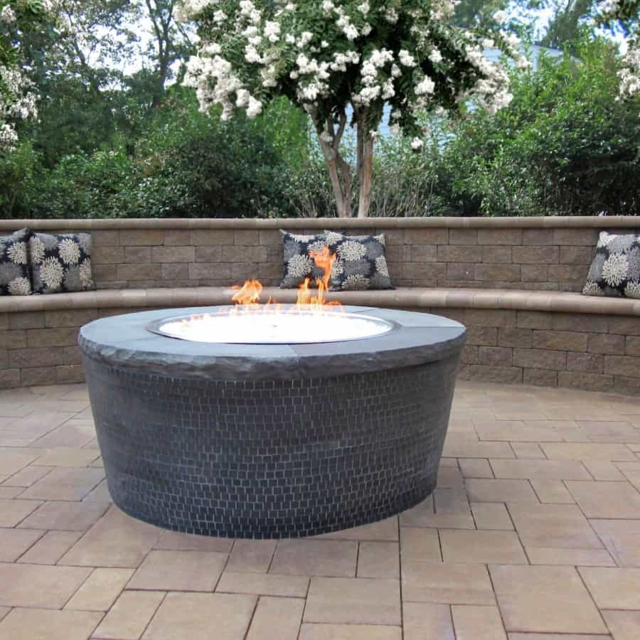 Gas Fire Pit veneered with Mosiac Tile and Fire Glass - Plainview, Long Island NY