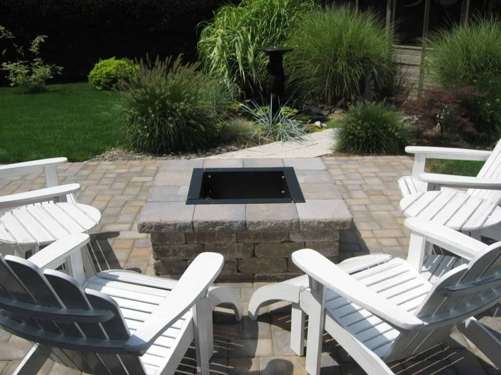 Cambridge - Old English - Color - Toffee/Onyx - Square Fire Pit with grill grate and fire retardant insert - Islip Terrace, Long Island NY