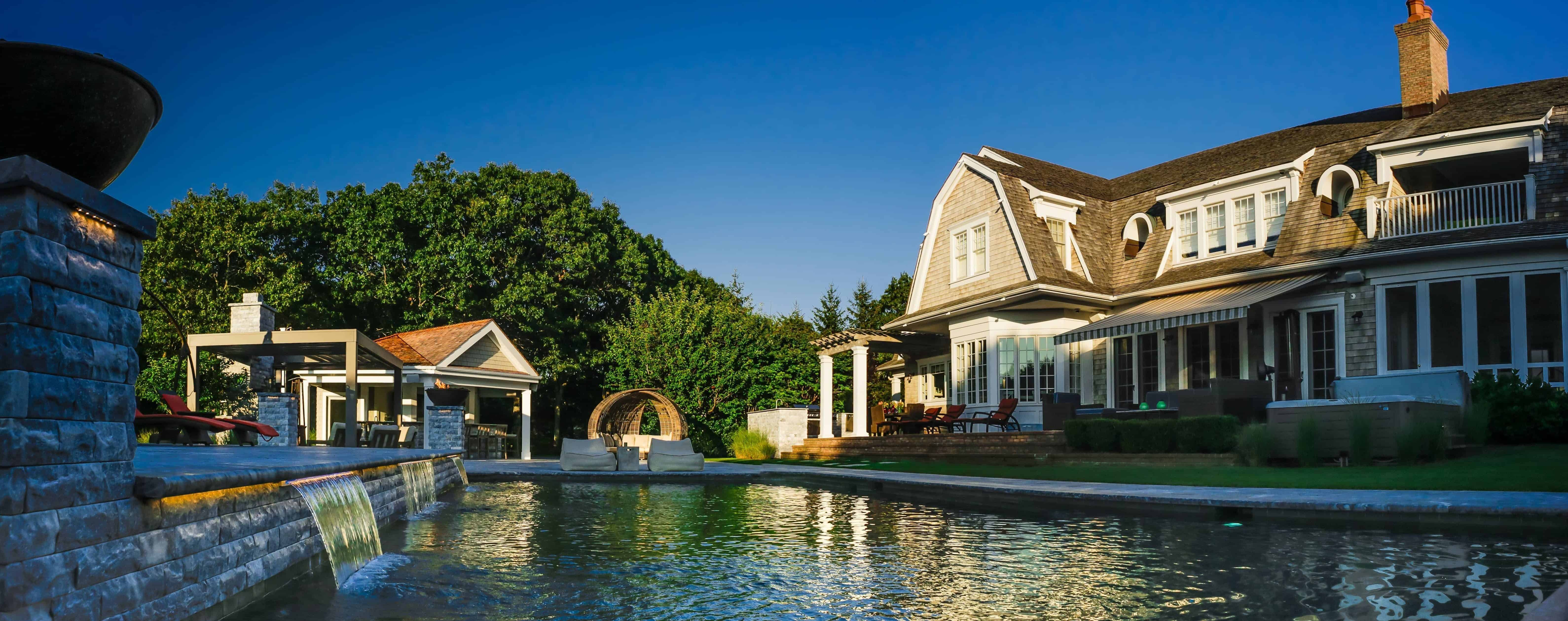 20' x 40' Gunite Pool with Sheer Descents and Fire Bowls - Southampton, Long Island NY