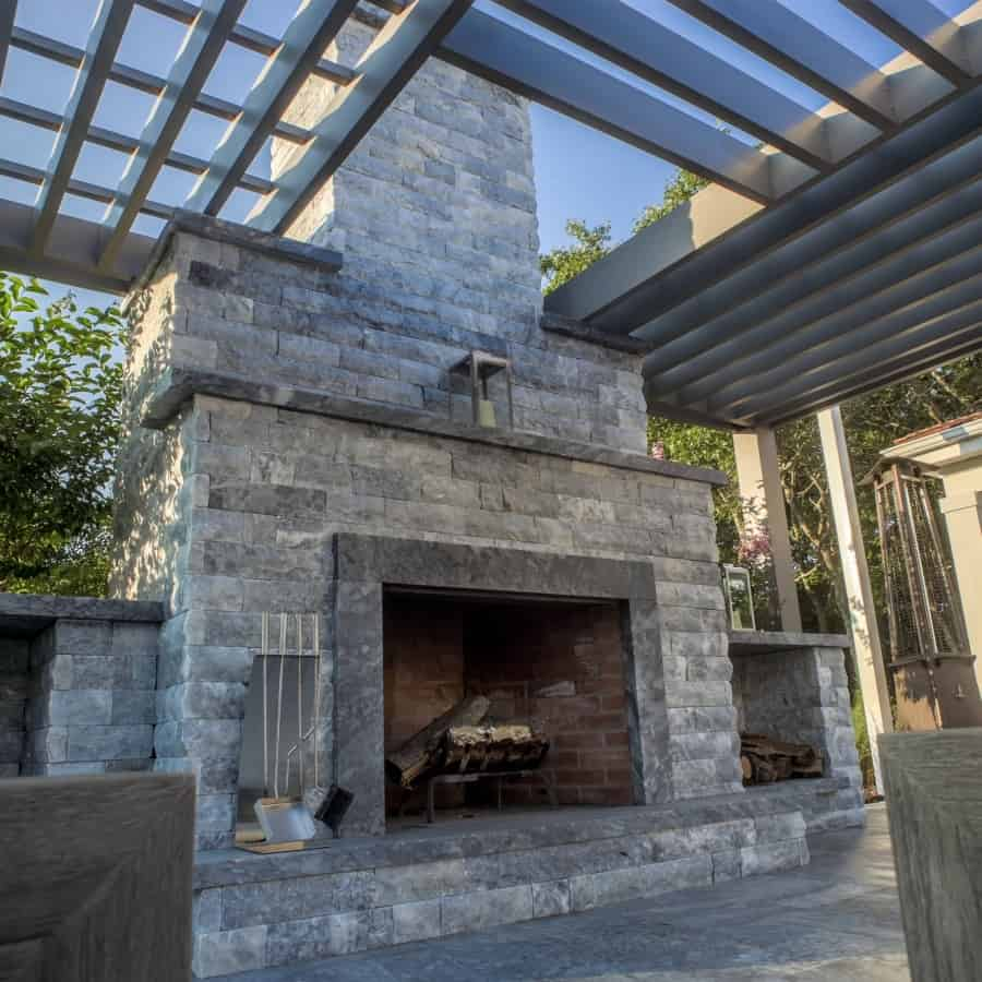 Grand Outdoor Fireplace with Pergola - Marmiro Stone Deep Blue - Southampton, Long Island NY