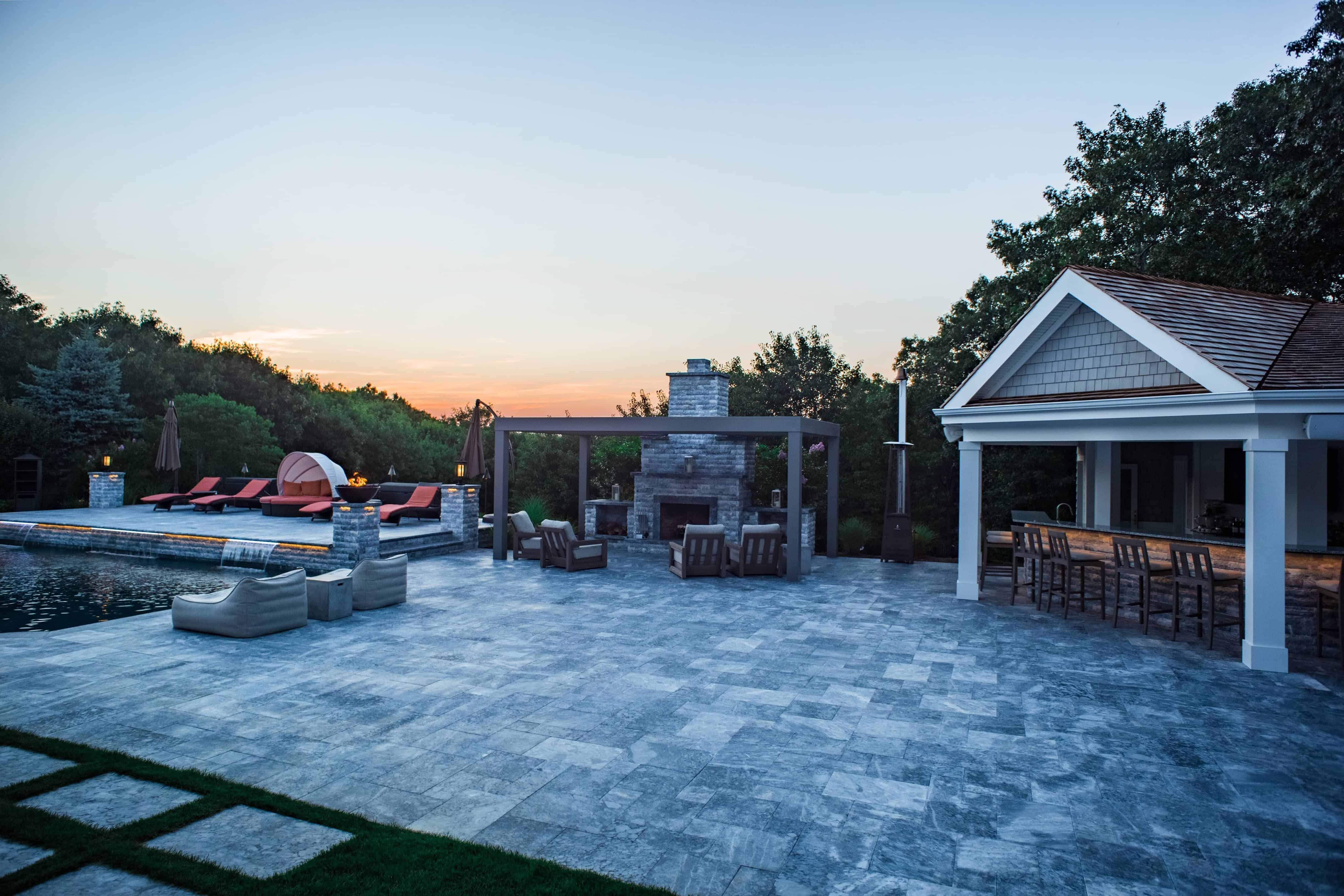 Marble Patio - Marmiro Stone Deep Blue in Southampton, Long Island NY