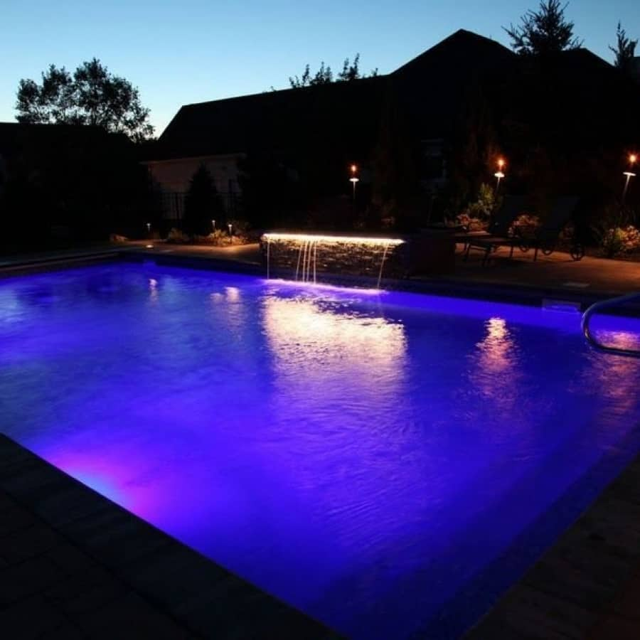 LED Lighting on Gunite Pool and Cabana - Manhasset, Long Island NY