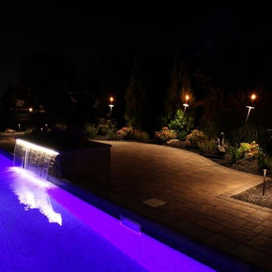 8' Sheer Descent Waterfall with LED light - Dix Hills, Long Island NY