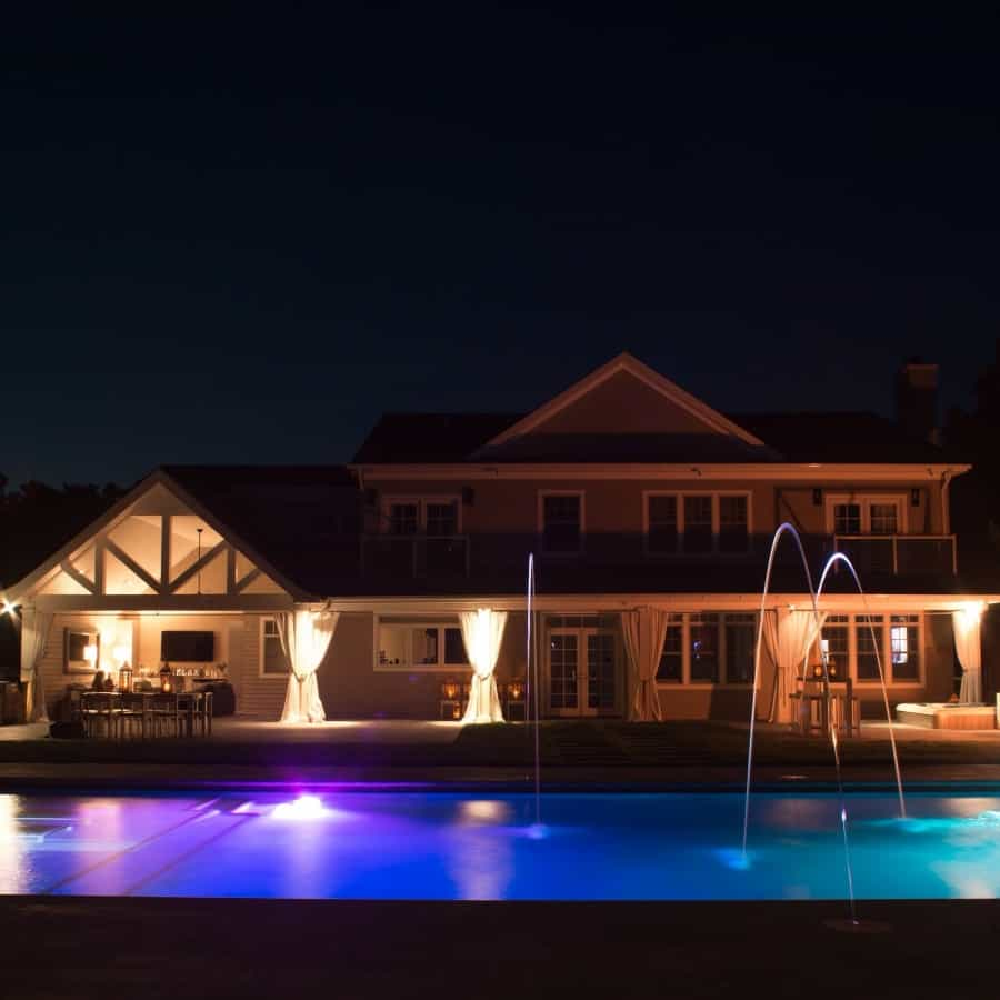 LED Lighting with Jandy Laminar Jets in Gunite Pool - Sag Harbor, Long Island NY