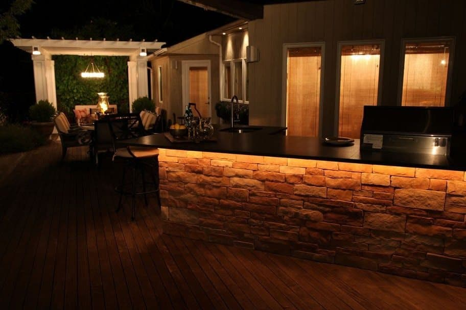 L Shaped Outdoor Kitchen/Bar with Bull Stainless Steel sink, refigerator, 30 inch grill - Melville, Long Island NY