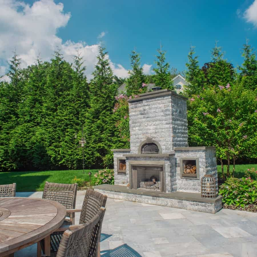 Grand Outdoor Fireplace with Pizza Oven - Marmiro Stone - Deep Blue - Plandome Manor, Long Island NY