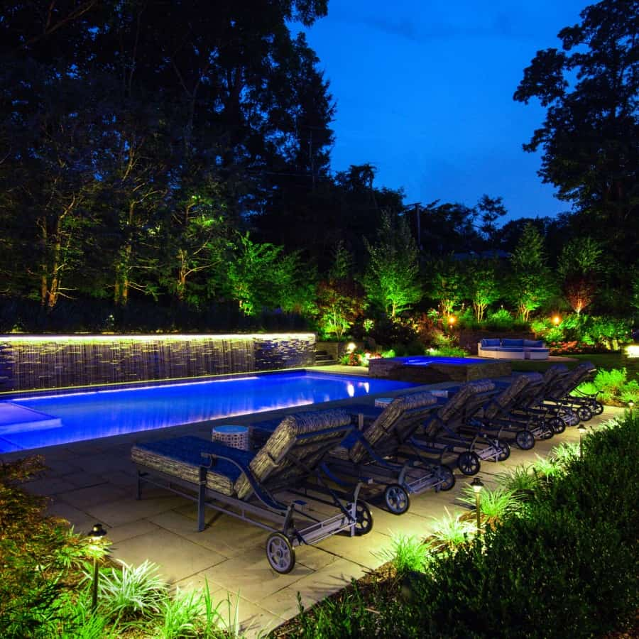LED Lighting in Gunite Pool - Sands Point, Long Island NY