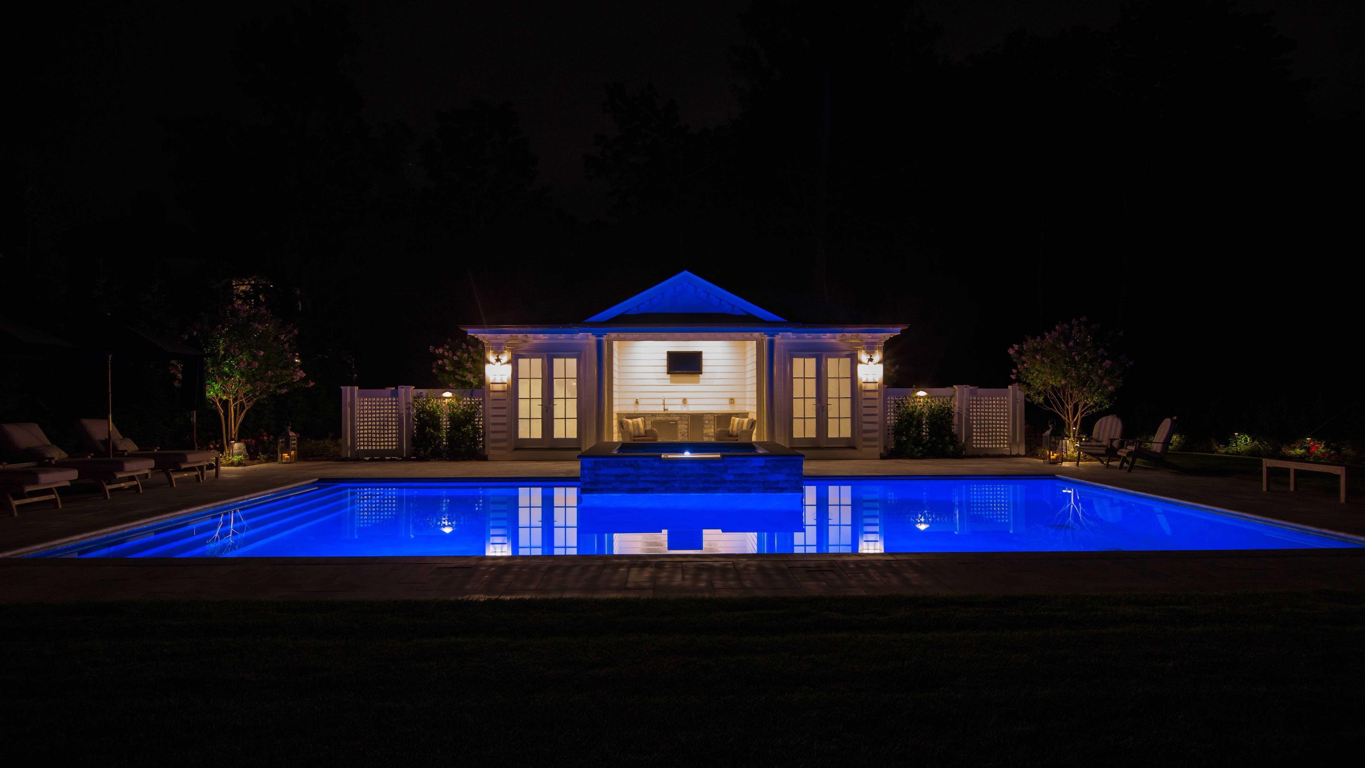 LED Lighting in Gunite Pool and Spa - Plandome Manor, Long Island NY
