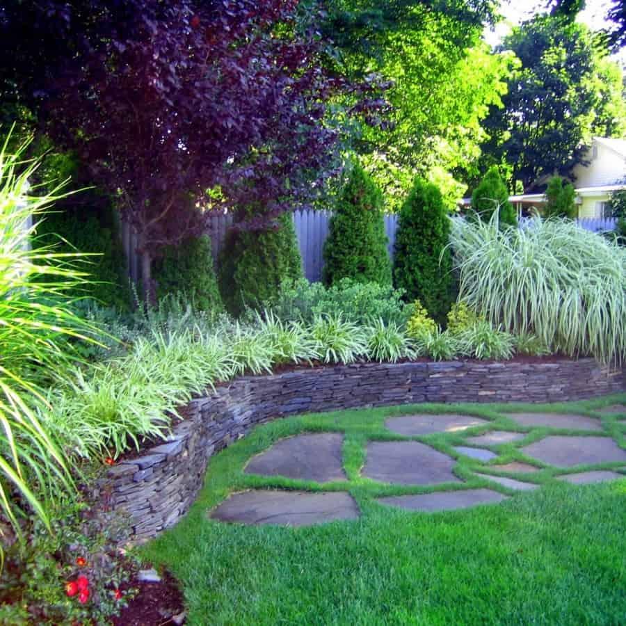 Landscape Plantings - Thundercloud Plum Tree, Arborvitae Emerald Green, Maiden Grass, and mixed perennials - Dix Hills, Long Island NY