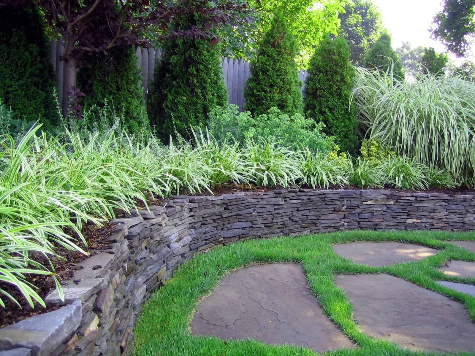 New York State stacked bluestone retaining wall - Dix Hills, Long Island NY
