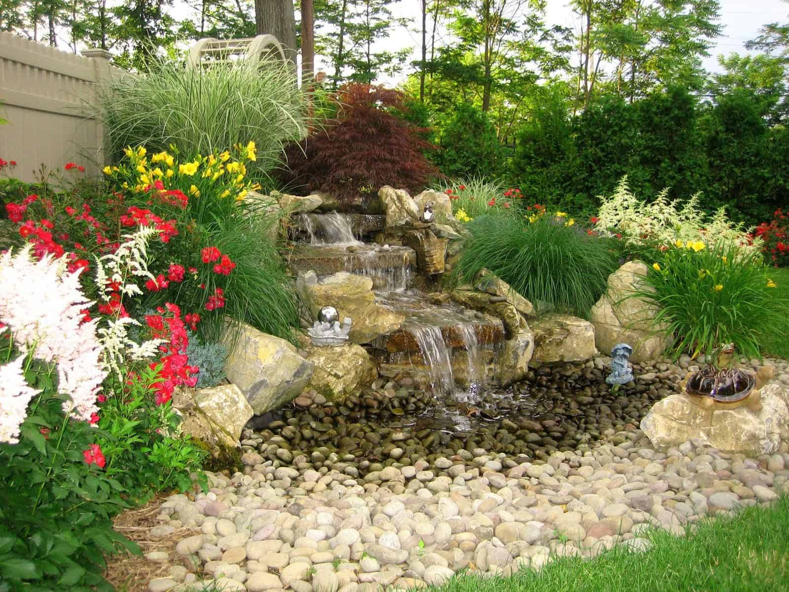 5' Moss Rock Pondless Waterfall with River Rounds - Dix Hills, Long Island NY