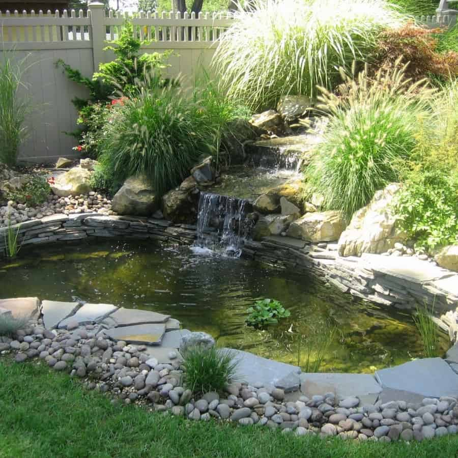 15' x 10' Stacked Bluestone Pond with River Rounds - Dix Hills, Long Island NY