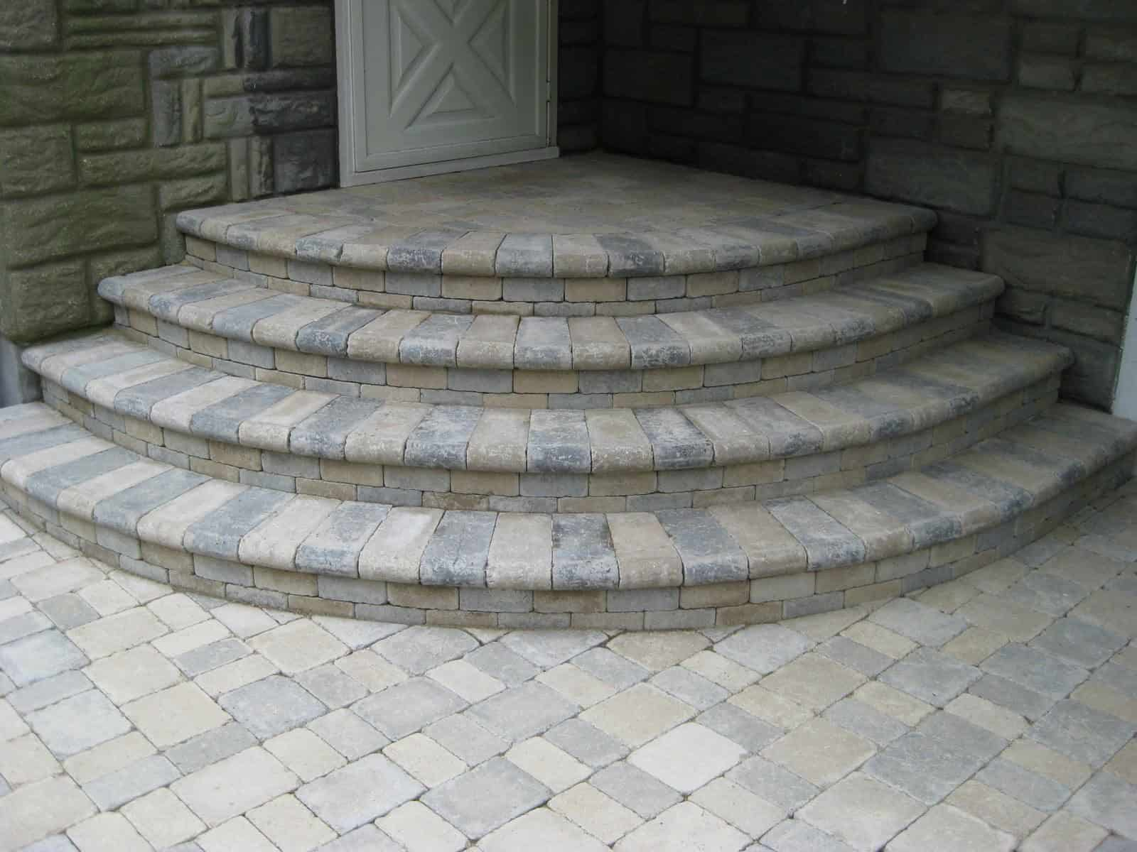Paver Stoop - Unilock Tumbled Brussels Block Paver Stoop- Sandstone and Limestone Mix - Random Pattern - Huntington, Long Island NY