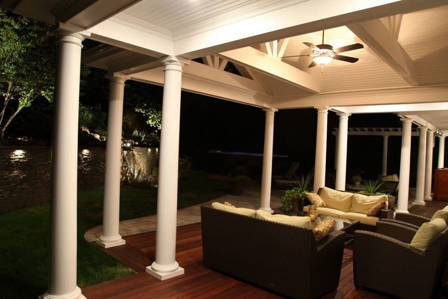 17' x 23' Outdoor Room with pitched roof, ceiling fan and columns - Roslyn, Long Island NY