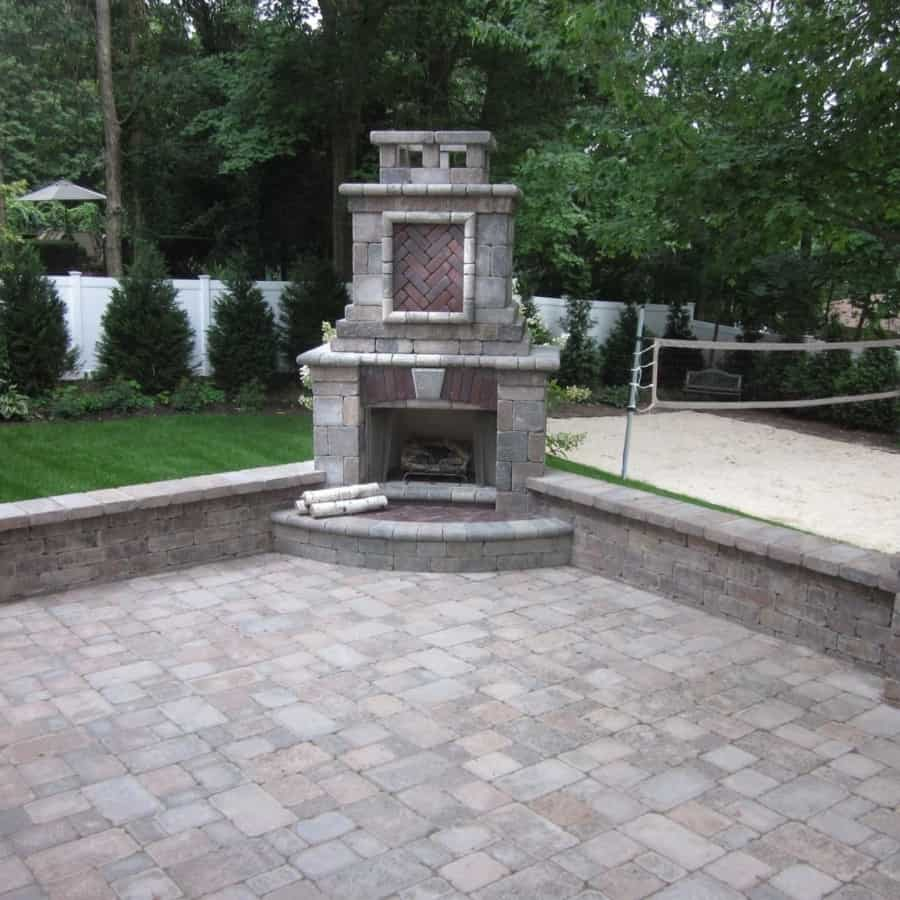 Unilock Tuscany Series Brussels Dimensional Stone Outdoor Fireplace accented with Copthorne and Brussels Fullnose - Gas Unit - Kings Park, Long Island NY