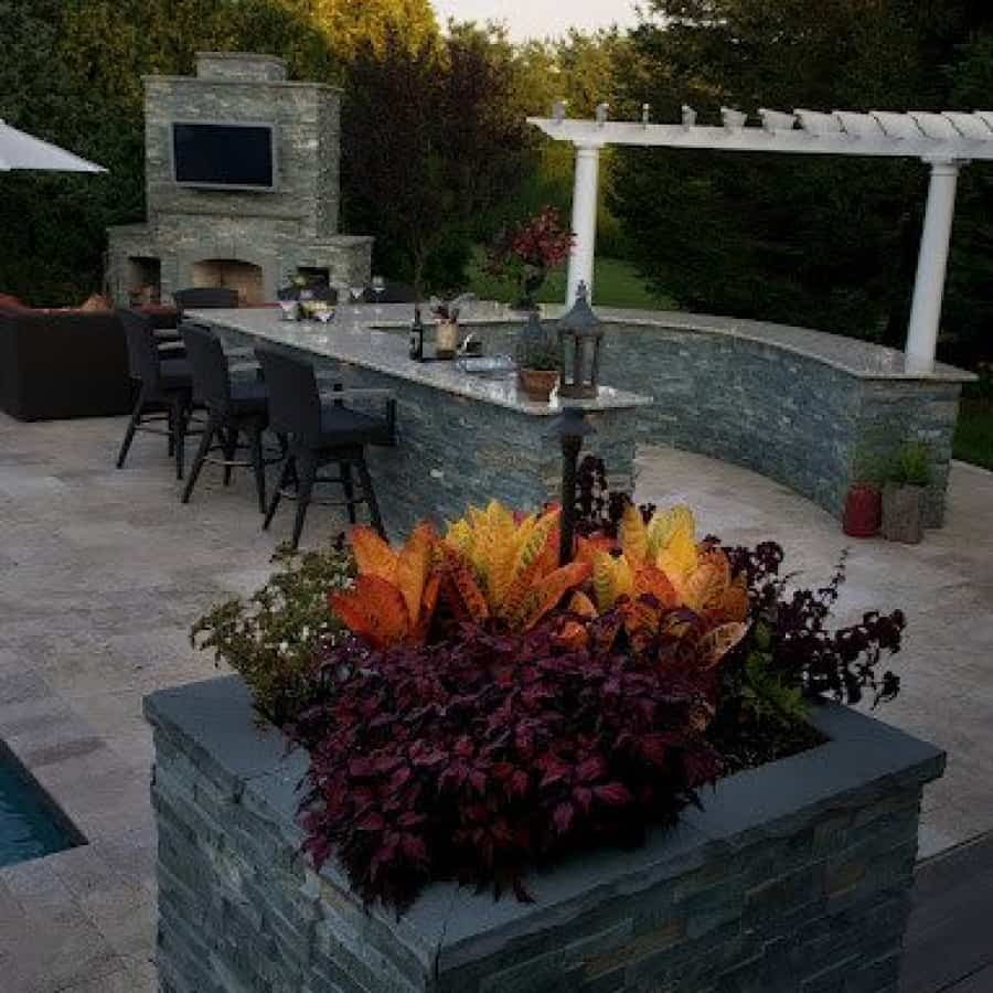 Landscape Plantings - Planter box with tropical Croton and Coleus - Southampton, Long Island NY