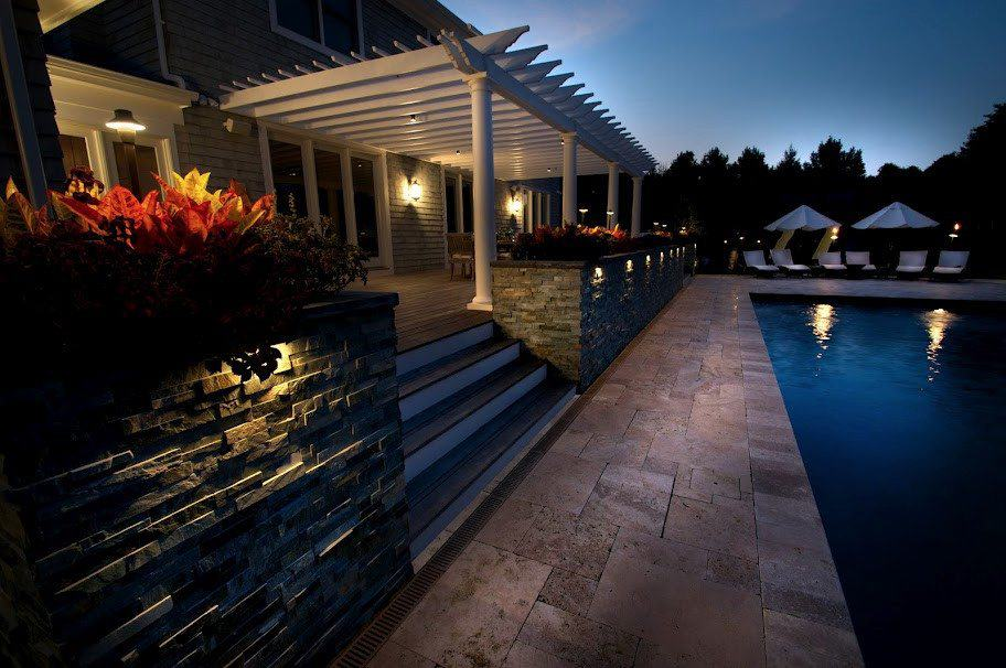 "Natural Stone Patio - Travertine ""Noche"" Pool Patio - Random Pattern - Southampto​n, Long Island NY"