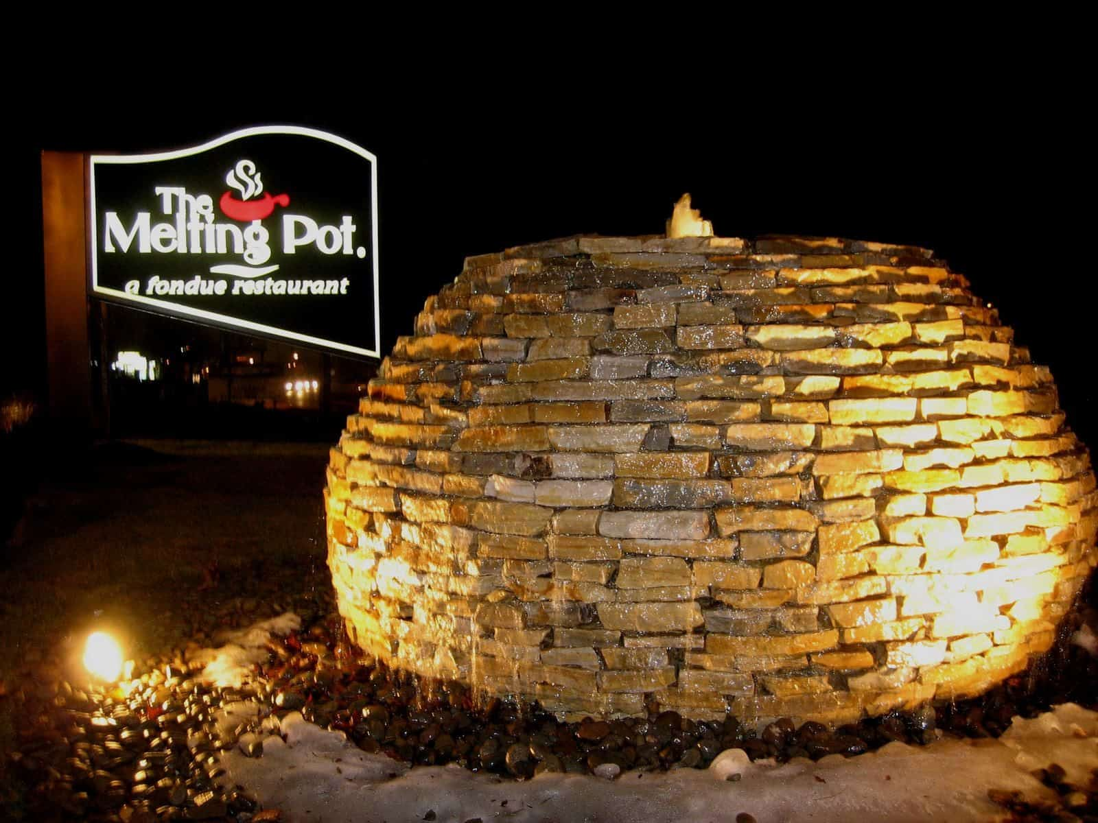 """The Preserve"" constructed out of South Bay Quartzite stacked stone with River Round base - Farmingdale, Long Island NY"