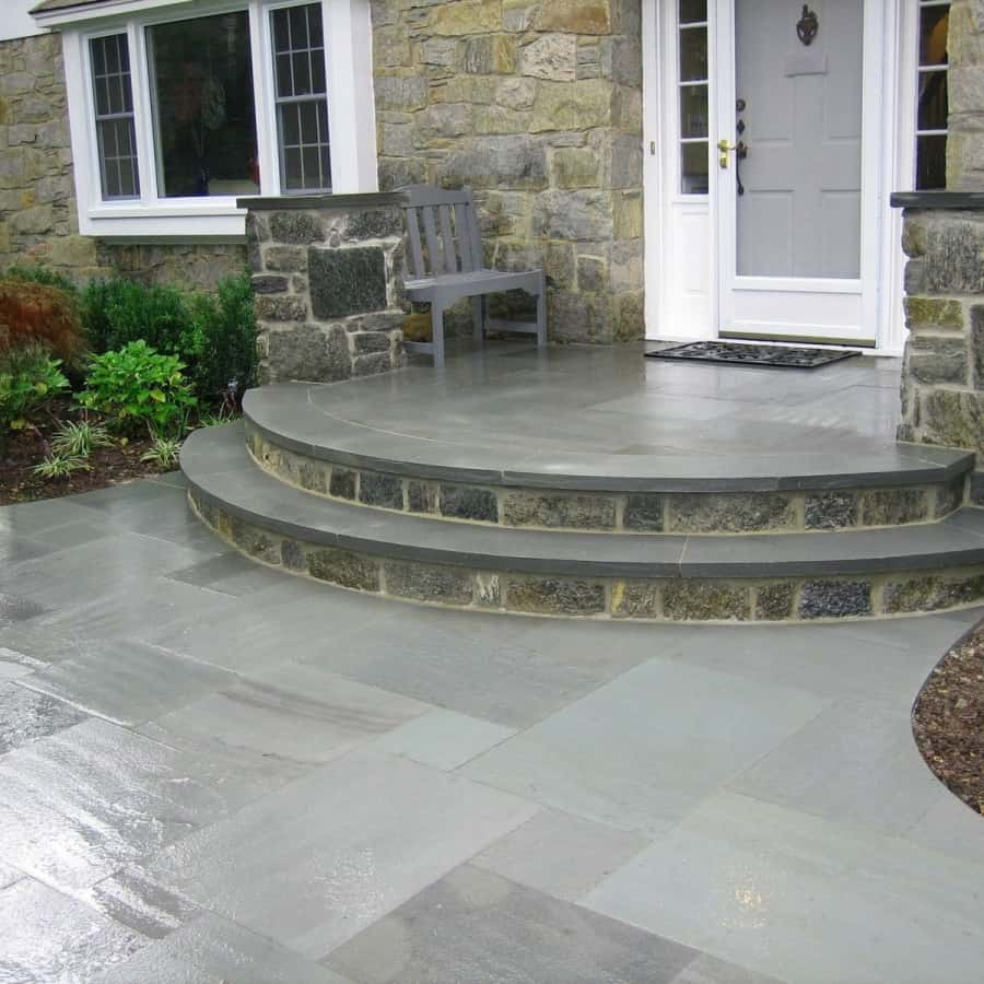 Natural Stone Walkway - 1 inch Thermal Bluestone Walkway and Stoop - Random Pattern - Merrick, Long Island NY