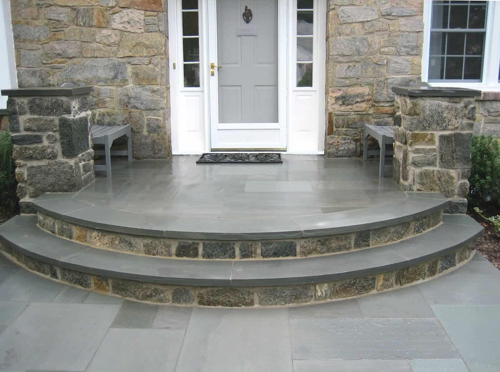 Natural Stone Stoop - 1 inch Thermal Bluestone Walkway and Stoop - Random Pattern - Merrick, Long Island NY